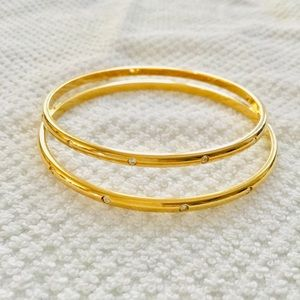 Two Swarovski Gold-tone Bangles w/clear crystals